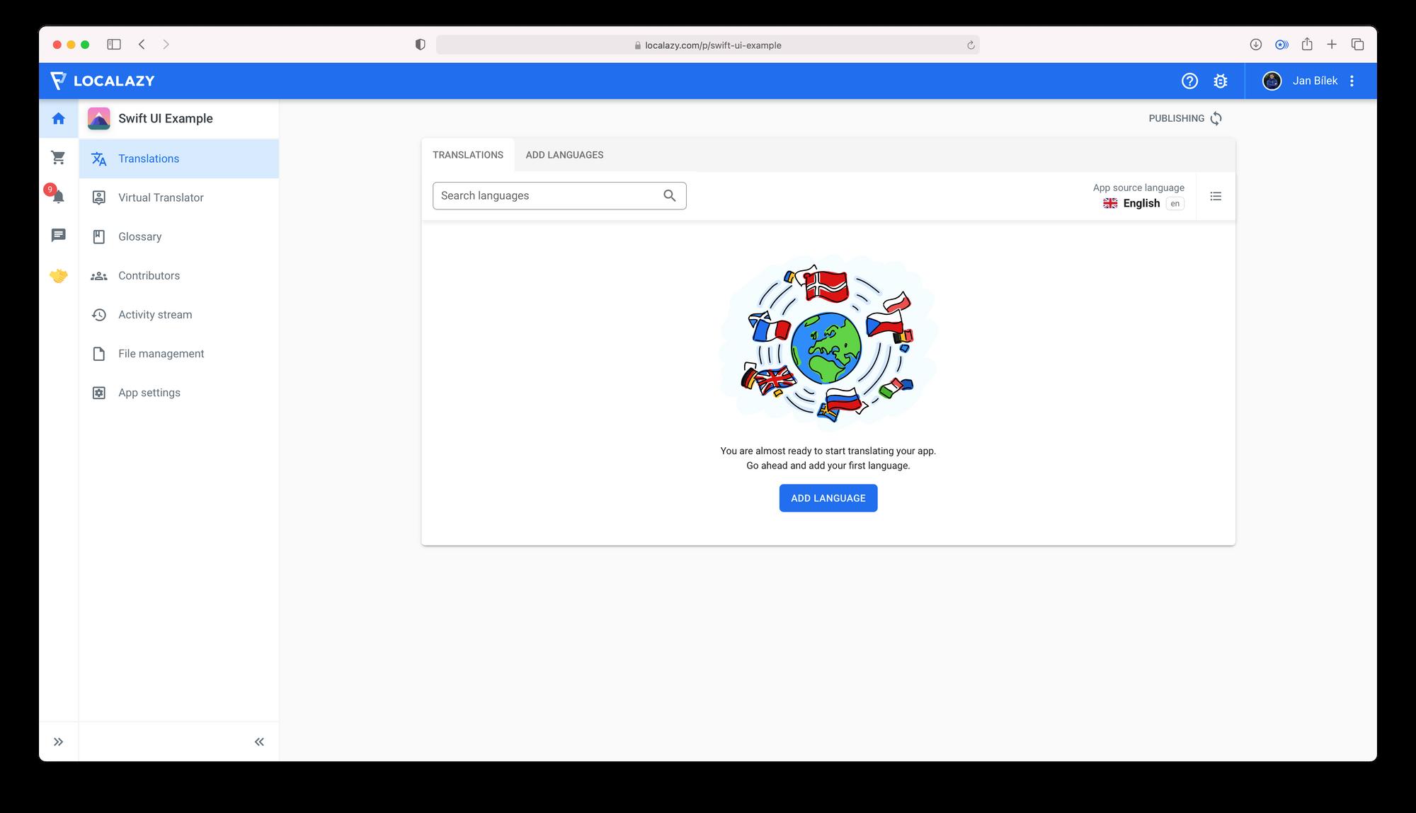 Localazy UI after uploading source language